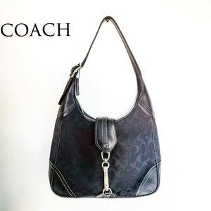 Black Coach Monogram Jacquard and Leather Handbag